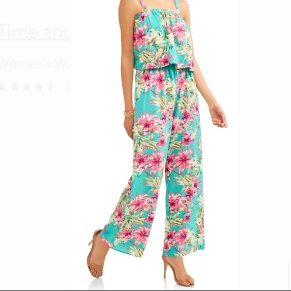 Time And Tru Pants Tropicalfloral Print Jumpsuit Poshmark